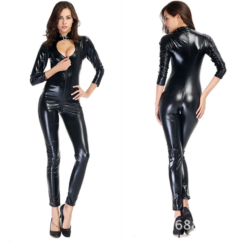 Hot DealsLatex Bodysuit Dance-Lingerie Open-Crotch Fetish Faux-Leather Erotic Front-Zipper Sexy Wetlook