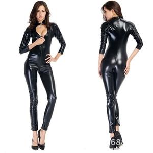 Соблазнительный костюм кошки из ПВХ, из искусственной кожи, латексный боди с молнией спереди, с открытым шаговым швом, Клубная одежда, эроти...