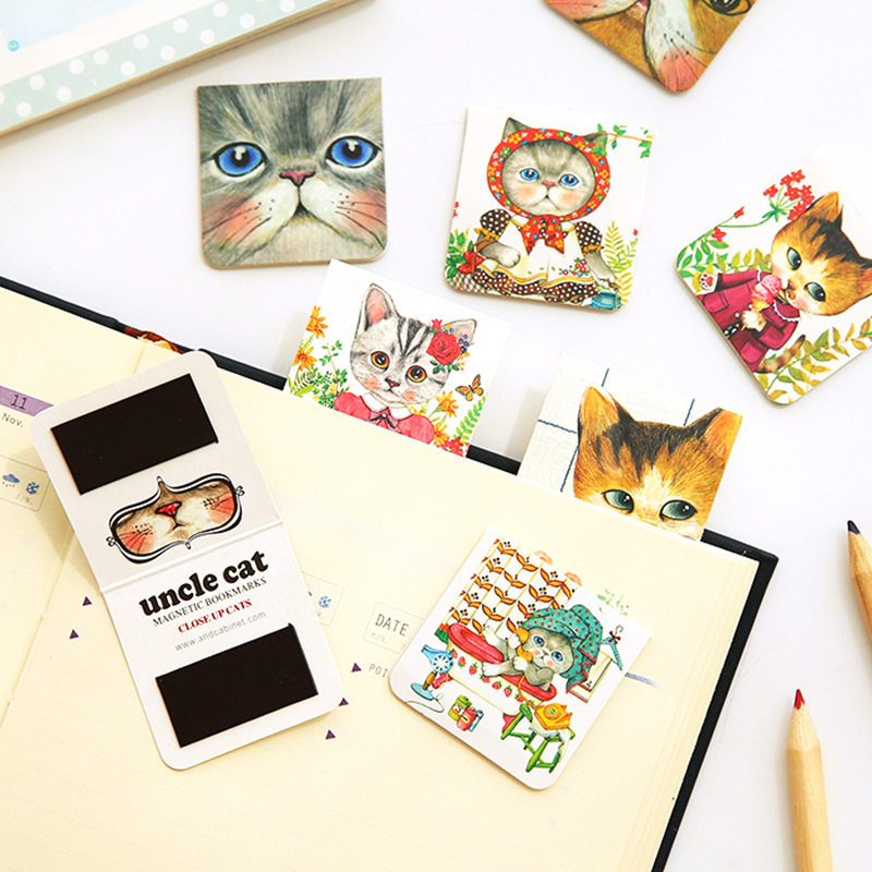 4 Set/Lot Uncle Cat Magnetic Bookmarks Mini Page Clip For Book Mark Kawaii Stationery Office Accessories School Supplies 6115