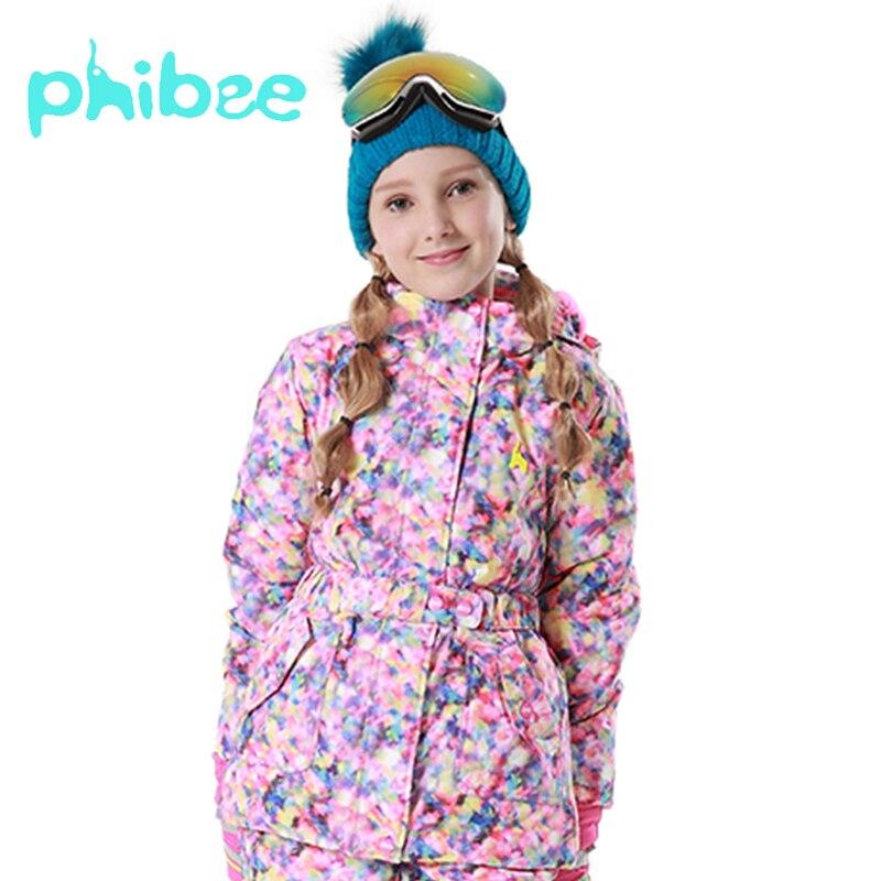 Phibee Mädchen Ski Snowboad Jacke Warme Atmungsaktive Kinder Winter Kleidung Wind Wasserdicht Atmungsaktiv Mantel