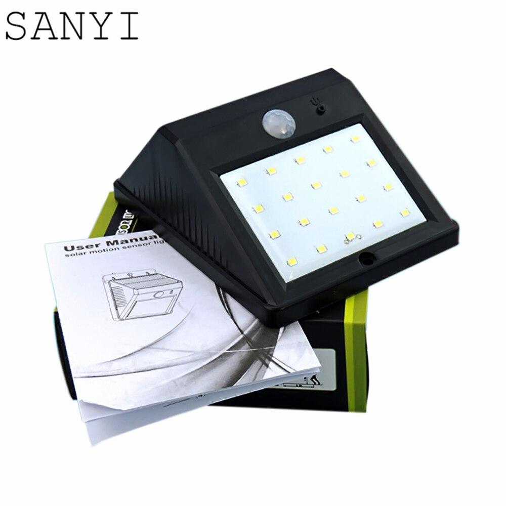 2016 New Style Best Promotion 20 LED Solar Powered Wireless PIR Motion  Sensor Light Outdoor Garden Security Wall Lamp