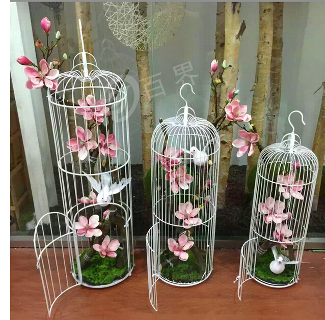 Wedding Decoration Window Place Photography Props Wrought Iron Cage Console