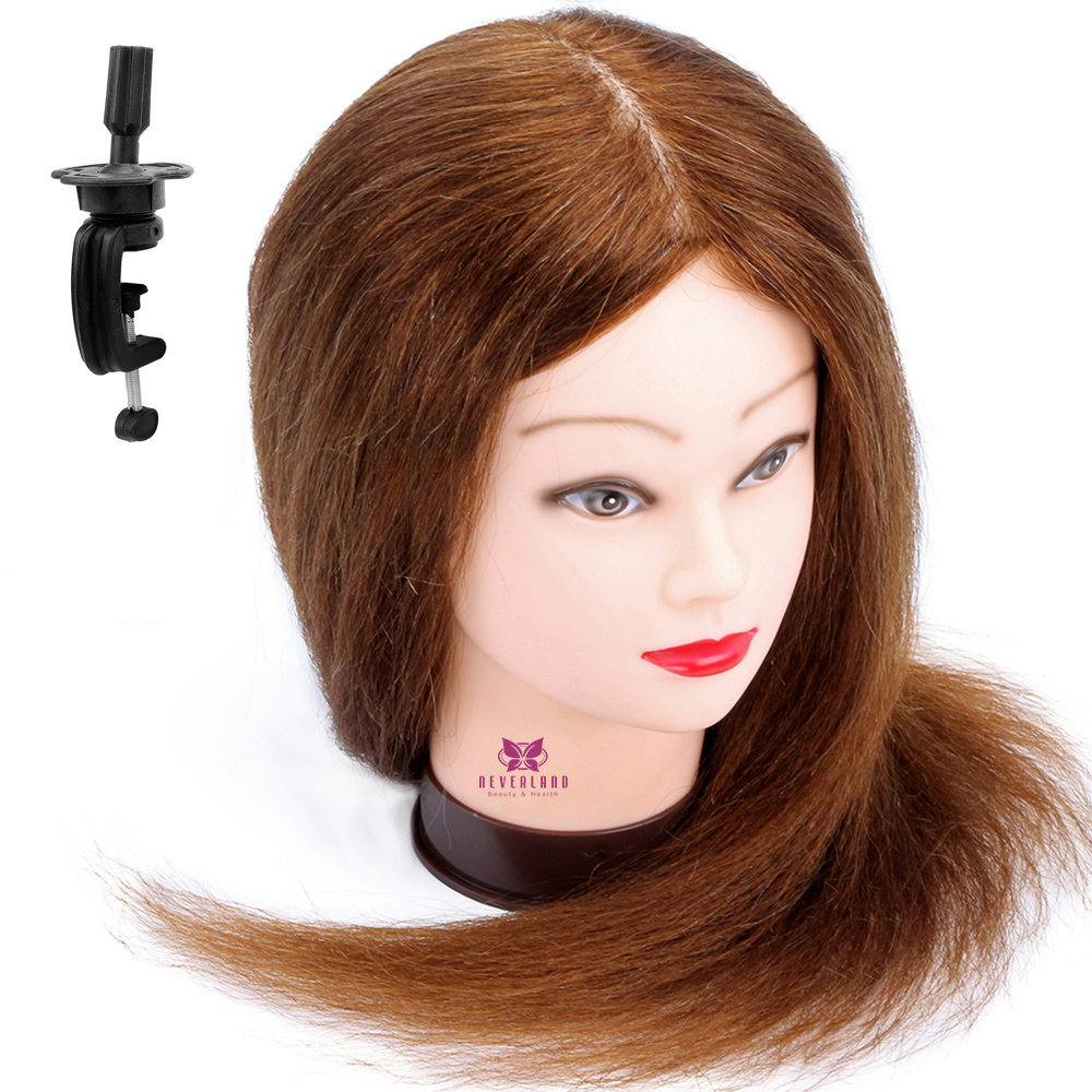 Image 5 - 100% Real Natural Human Hair Training Mannequin Head With Stand  Salon Professional Hairdressing Practice Manequi Head For  Barberhairdressing mannequinshuman hair traininghead hairdresser -