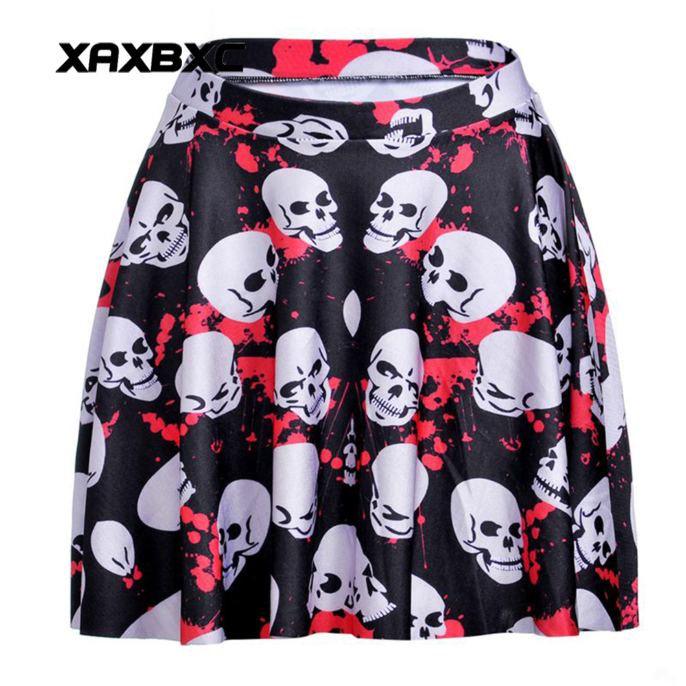 NEW 1181 Summer Sexy Girl Halloween Angry Skull Blood Printed Cheering Squad Tutu Skater Women Mini Pleated Skirt Plus Size