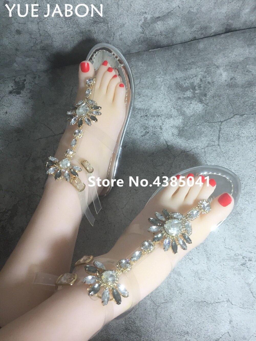 HTB1oWnTjf6TBKNjSZJiq6zKVFXav 2019 Woman Sandals Women Shoes Rhinestones Gladiator Flat Sandals Crystal Chaussure Plus Size 43 tenis feminino Green Flip Flops