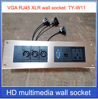 wall socket \ XLR VGA RJ45 AUDIO wall socket /Aluminum alloy /multimedia home hotel rooms KTV wall socket TY W11
