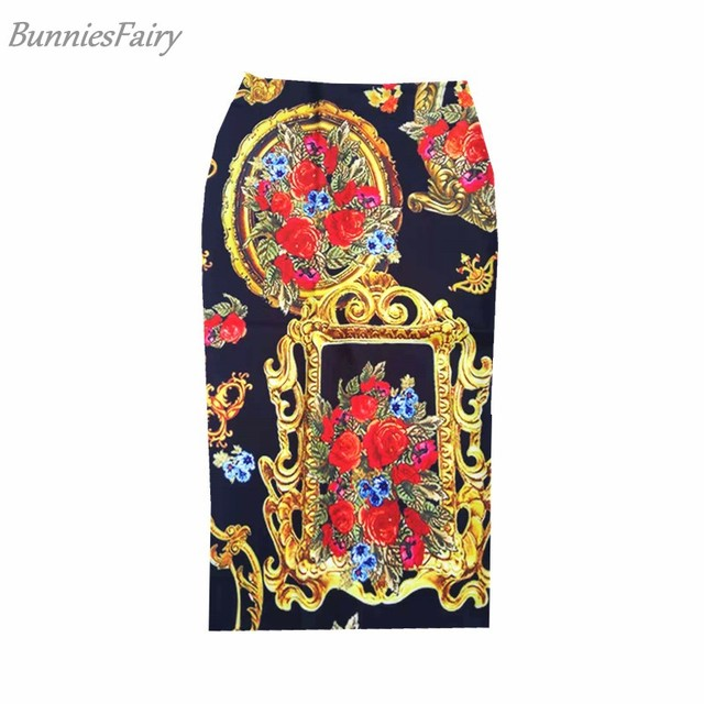aff28b2a4ae0 BunniesFairy 2019 Spring New Women Royal Vintage Retro Rose Flower Floral  Print High Waist Midi Pencil Skirt Stretchy Tube Sais
