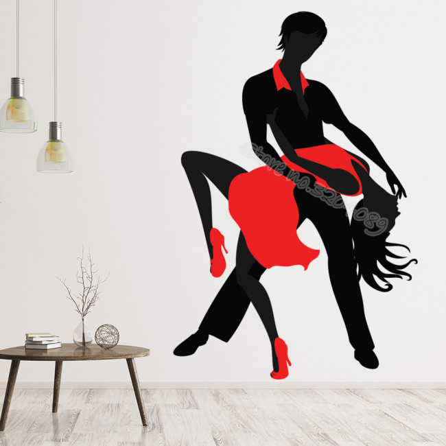Tango Dance Couple Red Dress Wall Sticker Latin Dancers Modern Dance Silhouette Decal Living Room Home Decor Art Mural Eb284 Aliexpress