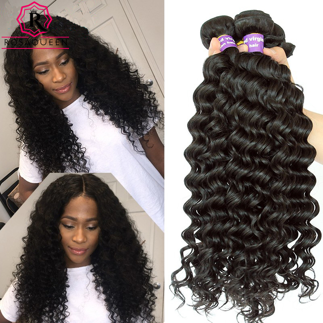 Peruvian Deep Wave 3 Pcs Peruvian Virgin Hair Deep Wave Curly Weave Human Hair Bundles 8A Peruvian Hair Rosa Queen Hair Products