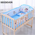 5pcs/set baby bedding set 120*65cm  cotton crib set bumpers pillow mattress back cushion children's bed linen minnie mikey