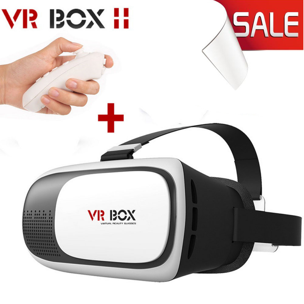 Google cardboard VR BOX 2.0 3D Glasses Virtual Reality Video Movie Game Glasses Headset + Bluetooth Remote Controller Joystick