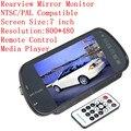 Espelho Retrovisor Monitor do carro de 7 Polegada MP5 Player Transmissor FM Controle remoto Para A Câmera de Visão Traseira DVD Cartão SD PAL/NTSC compatível