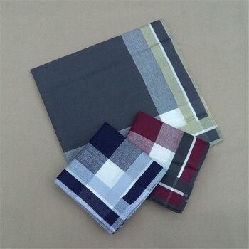 1pc 40x40cm Square Cotton Men Pocket Handkerchief Sweat Towel Check Strip