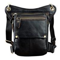 Men's Thigh Bag Motorcycle Genuine Leather Crazy Horse Waist Bag Travel Leg Bag Tool Pack motocross racing MOTO should straps