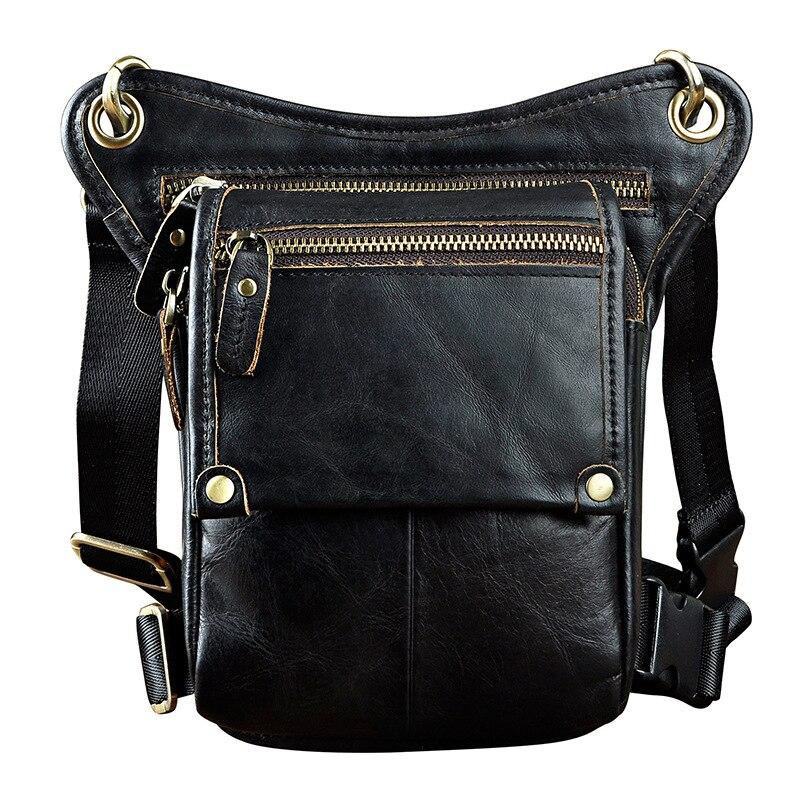 Sac de cuisse pour hommes moto rcycle en cuir véritable sac de taille de cheval fou sac de jambe de voyage sac à outils moto cross racing moto devrait sangles