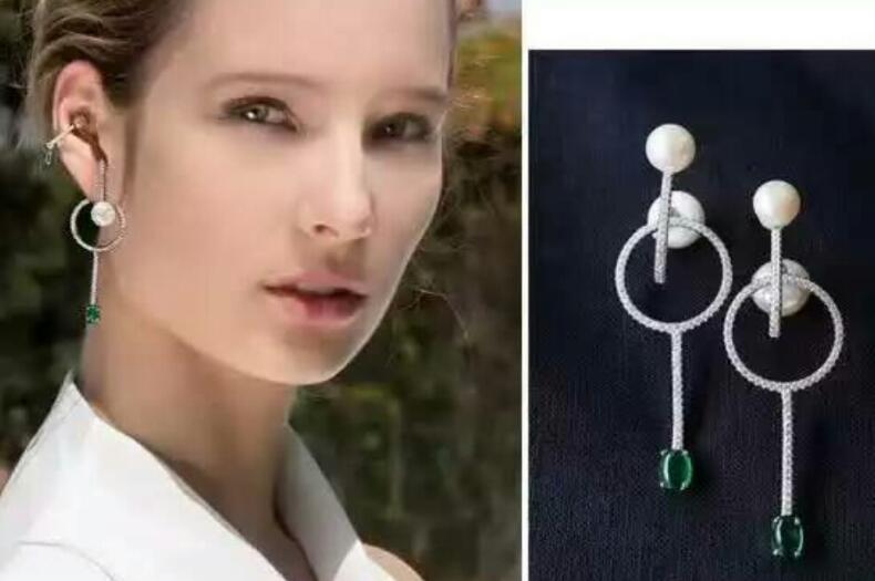 Bijoux de mariée livraison gratuite sellhot chaude vente 925 mode belle vert cristal V type Multi angle Bijoux boucles d'oreilles