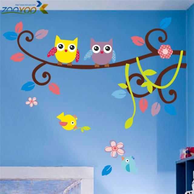 wise owls on colorful tree wall stickers for kids rooms animal decorative adesivo de parede removable pvc wall decal zooyoo1016