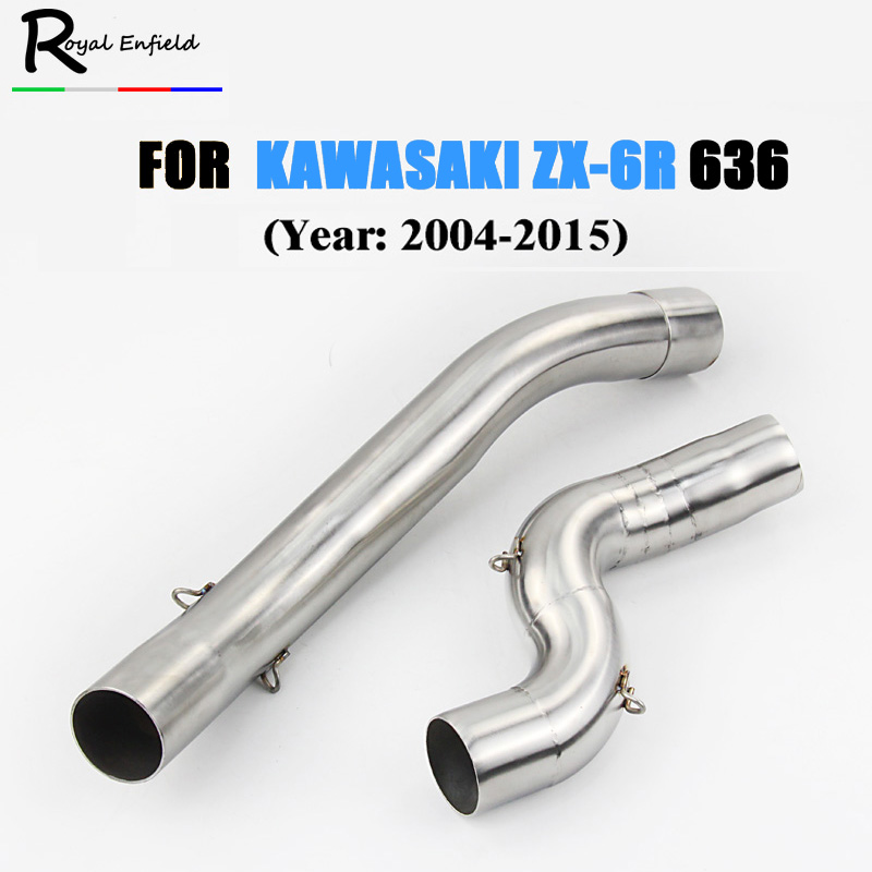 zx6r Motorcycle exhaust muffler link pipe for kawasaki zx6r zx 6r 2004 2005 2006 2007 2008 2009 2010 2011 2012 2013 2014 2015