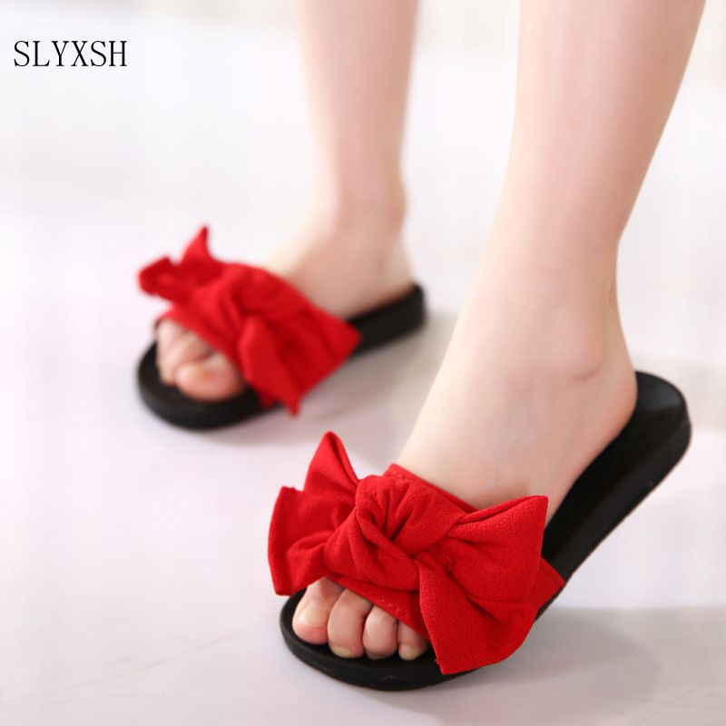 SLYXSH 2017 Summer new children shoes girls shoes big bow fashion open toe  slippers princess sandals