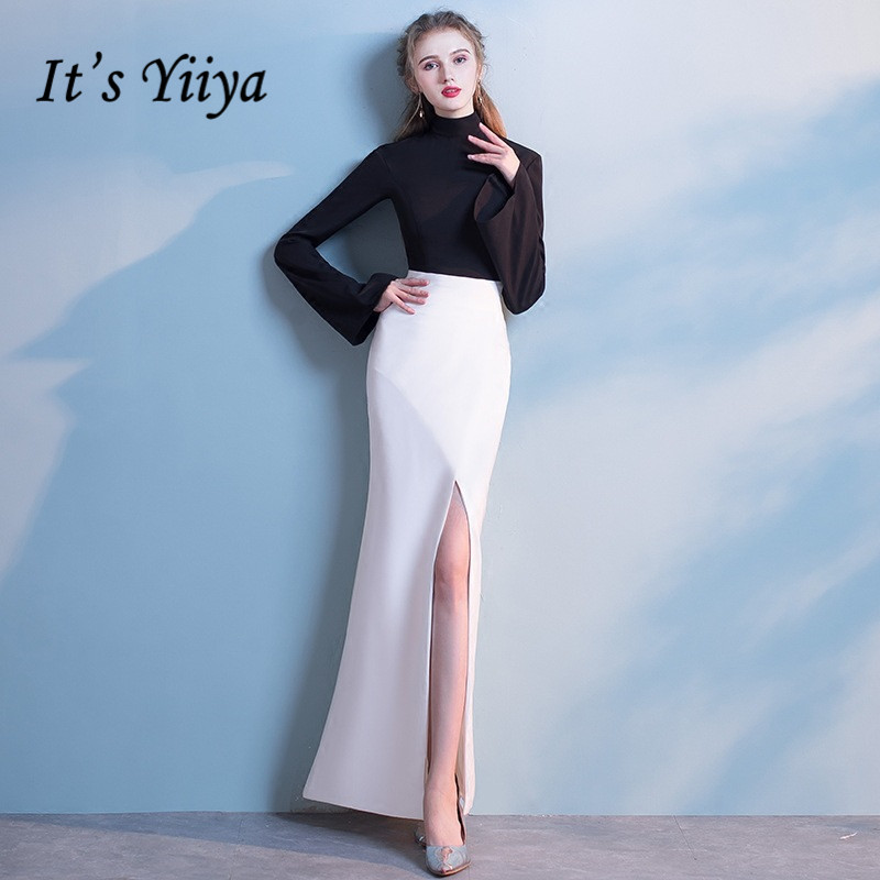 Its Yiiya Sexy High Neck Evening Dresses Fashion Ankle Length