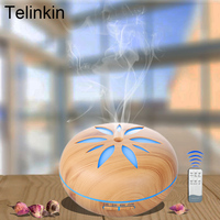 550ml Wood Grain Petal Aroma Air Electric Humidifier For Home With Remote Control 7Color Lights Essential