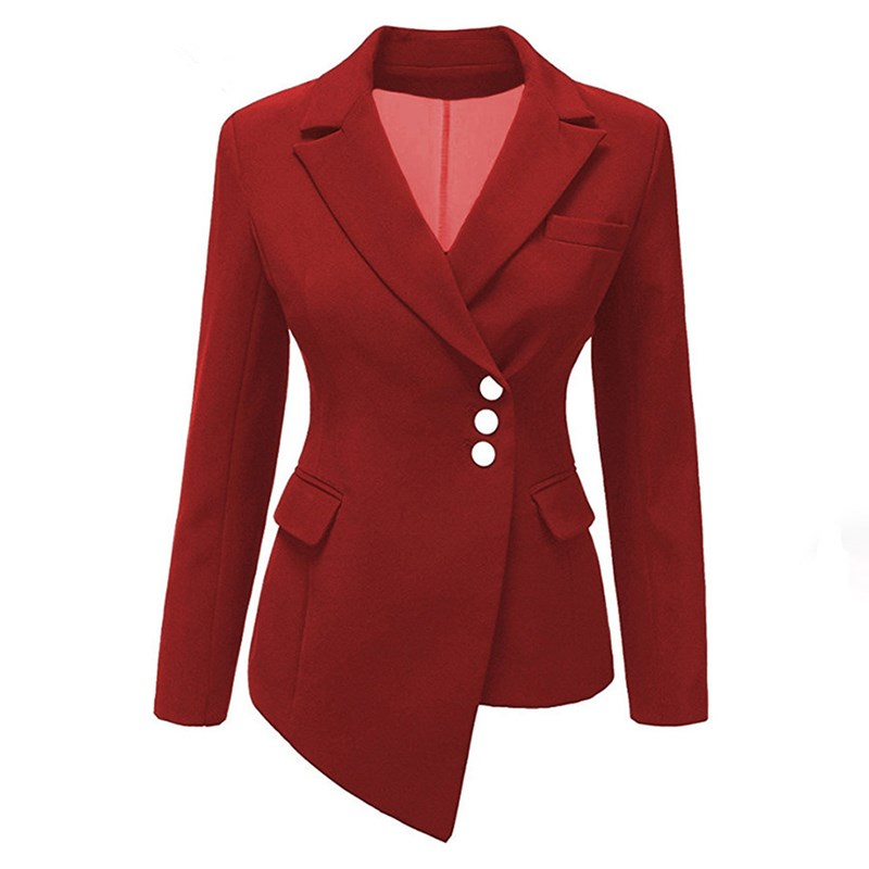 Plus Size New Women Slim Button Short Blazer Suit Red Long Sleeve Asymmetric Jacket Coat