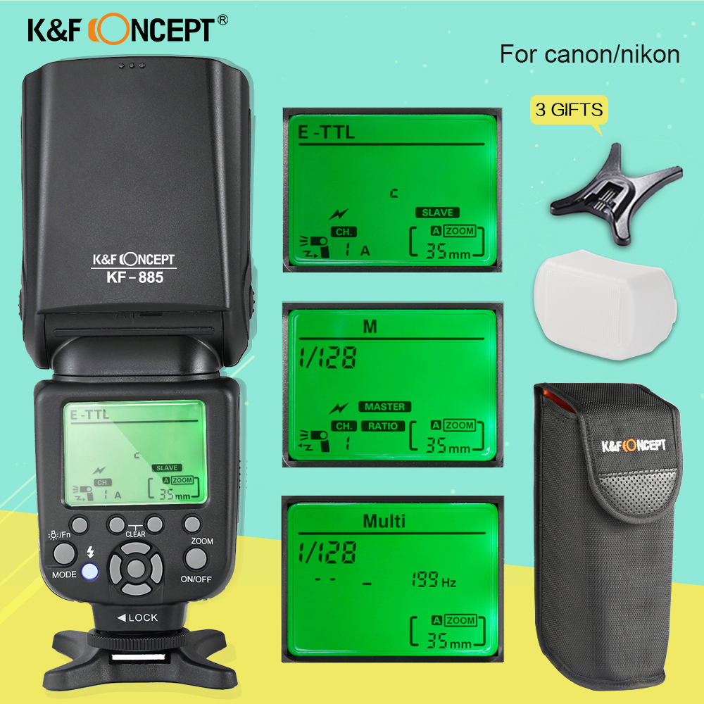 K&F CONCEPT KF-885 Wireless Speedlight 1/8000s Master Slave With LCD Screen TTL Universal Flash Speedlite For Canon Nikon DSLR new pre zomei brand camera flash speedlight with lcd screen zm860t for canon nikon special price
