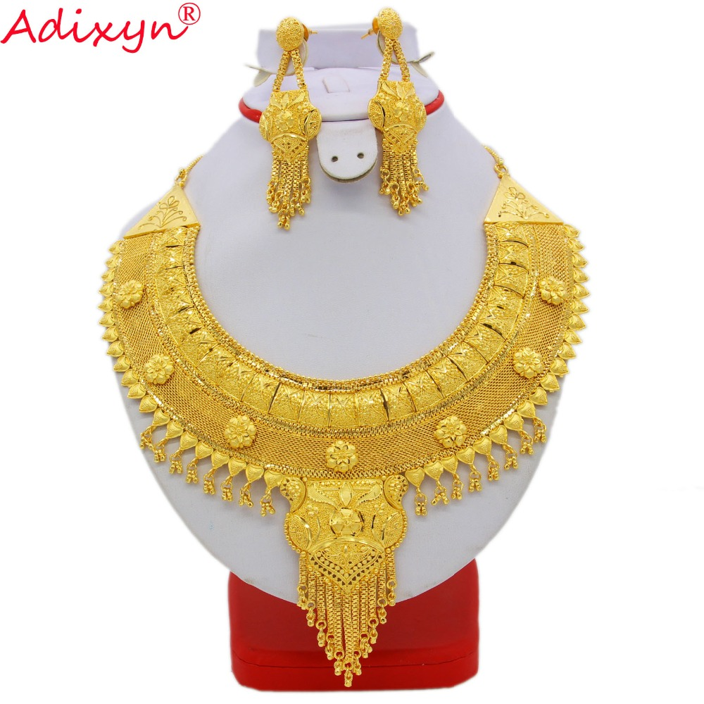 Adixyn NEW Tassels Ethiopian Women Wedding Jewelry Sets Necklace/Earring Gold Color/Copper African/Eritrea/Arabic Gifts N08091 цена