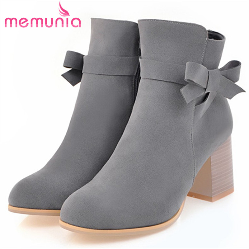 MEMUNIA Flock fashion shoes woman high heels boots female spring autumn ankle boots for women bowtie big size 34-43 memunia 2017 fashion flock spring autumn single shoes women flats shoes solid pointed toe college style big size 34 47