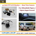 """Car Rearview Camera + 4.3"""" LCD Screen Monitor = 2 in 1 Parking Assistance System - For Mitsubishi Pajero / Pajero Super Exceed"""