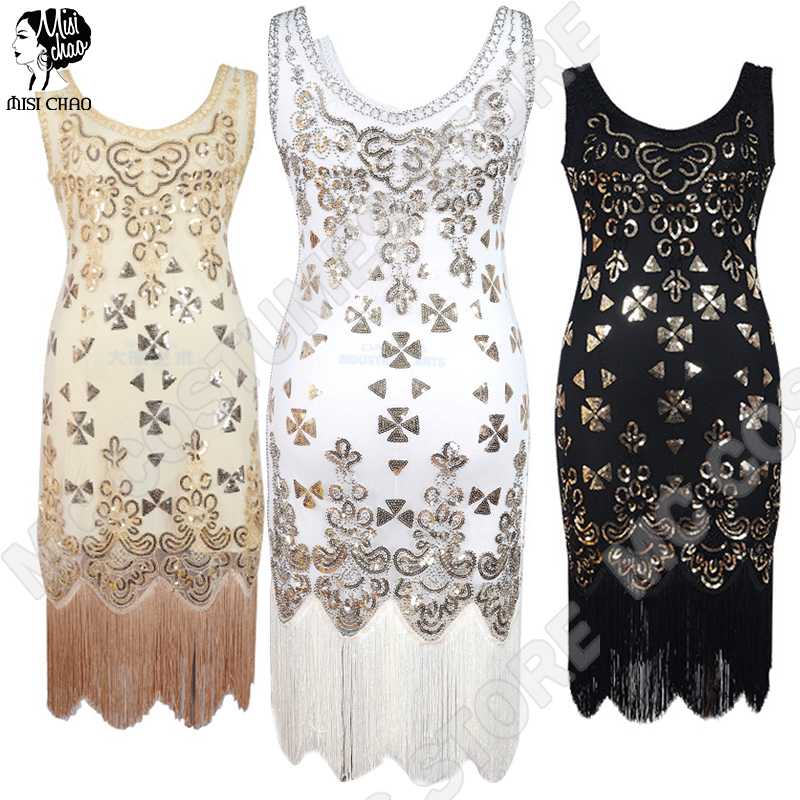 Flapper Fringe Dress Women Great Gatsby Vintage Sequined Tassel Art Deco Embellished Party Summer Sleeves Costumes Dresses