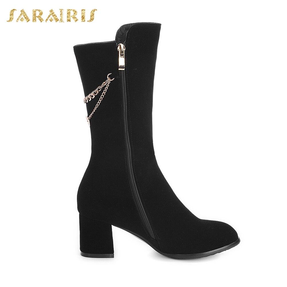 Sarairis Elegante Mujer Venta Up Decoración Negro 31 Pantorrilla Caliente Botas Tamaño Media Mujeres 2018 De 43 Zip Grande Metal Zapatos r8ArgU