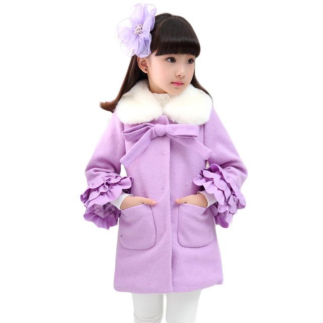 Os novos desgaste das crianças meninas roupas de inverno 2016 casaco de pano de lã chateado cuhk criança crianças casaco de pano