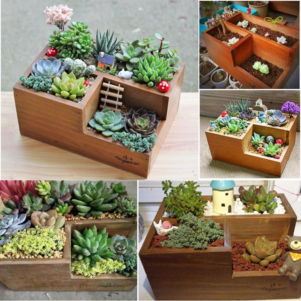 Wooden Garden Herb Planter Window Box Trough Pot Succulent