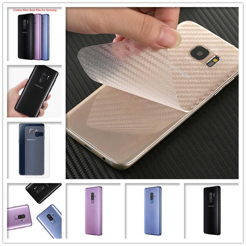 2 adet şerit etiket Tam Kapak Samsung Galaxy S7 Kenar S10 S9 S8 Artı Not 9 8 Note9 A5 2017 karbon Fiber Arka Ekran Koruyucu