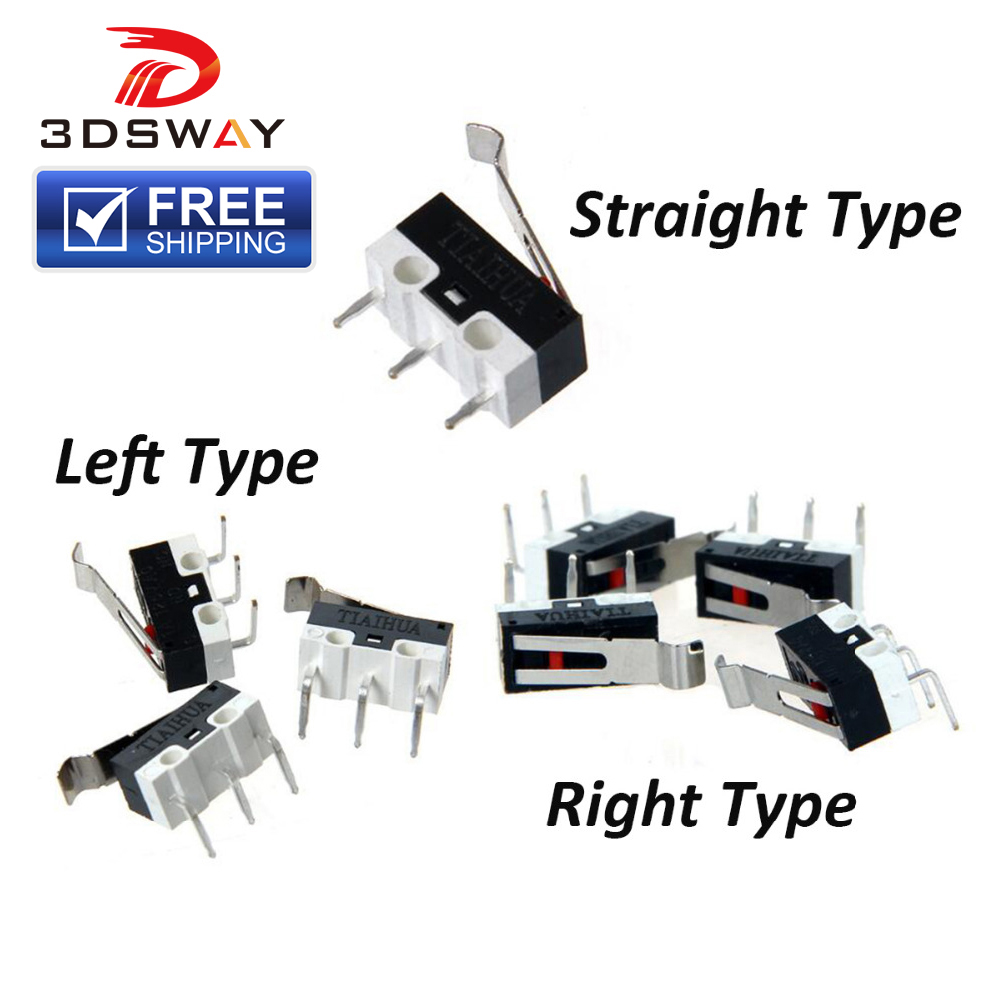 3DSWAY 3D Printer Mechanical Limit Switch 10pcs/lot 1A/125VAC Endstop Micro Switch For Prusa I3 Delta Kossel Makerbot Printer
