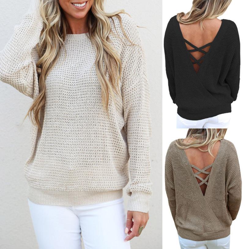 MUQGEW New Arrival Popular Sexy Womens Fashion Long Sleeve Backless Knitting Sweaters Casual Minimalist Style Blouse