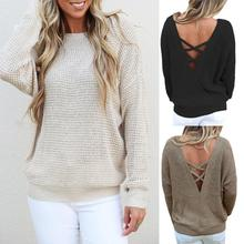 MUQGEW New Arrival Popular Sexy Womens Fashion Long Sleeve Backless Knitting Sweaters Casual Minimalist Style Blouse Tops