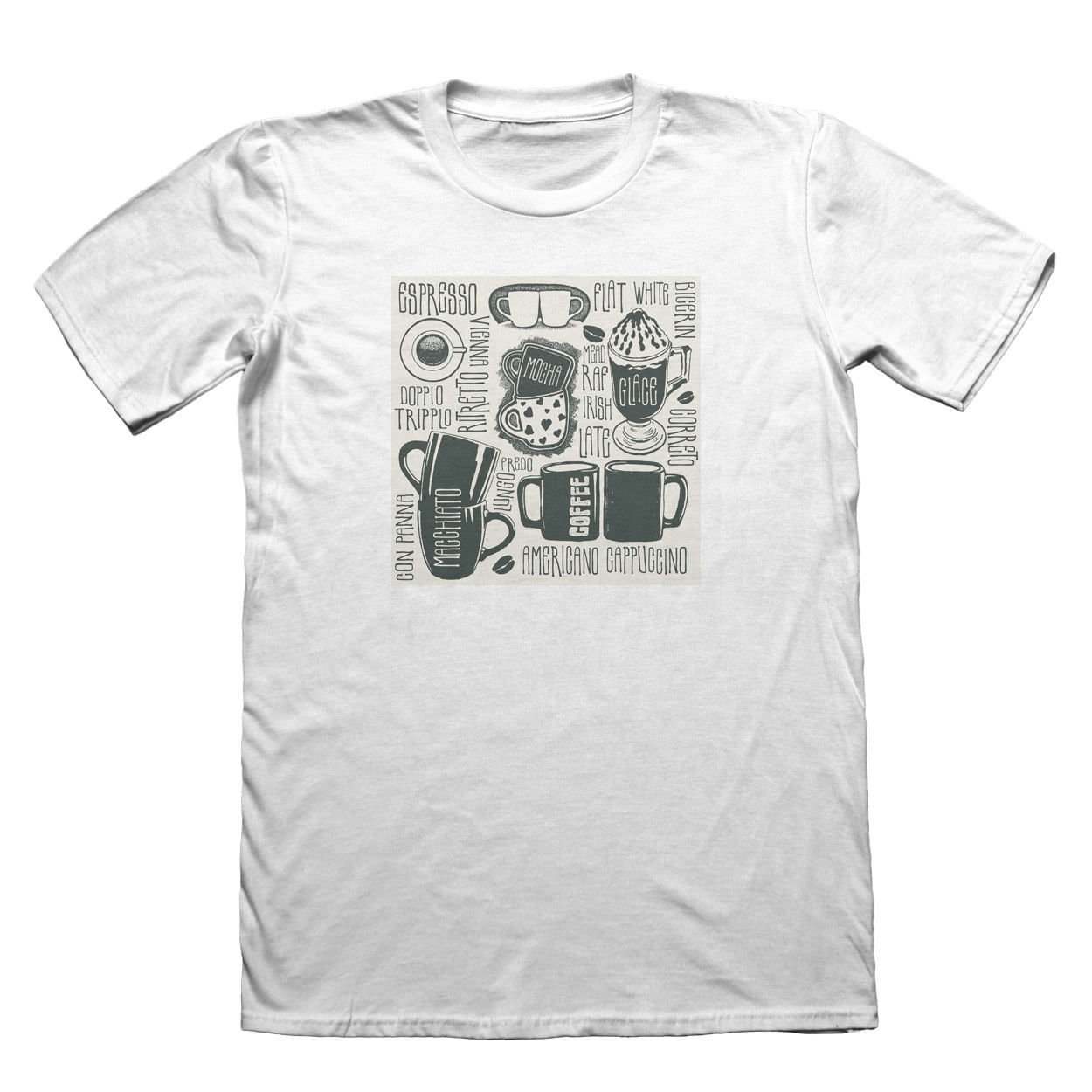 Coffee Shop Americano T-Shirt - Mens Fathers Day Christmas Gift #7422 Casual Printed Tee