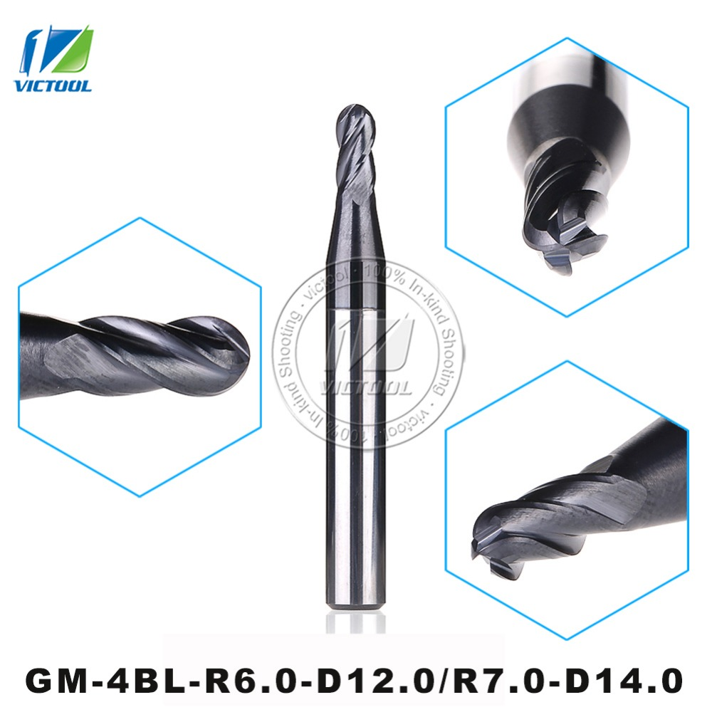 GM-4BL-R6.0/R7.0 Cemented Carbide Higher Feed Speed Machining Efficiency 4-flute Ball Nose End Mills With Straight Shank Tools gm 2b r7 0 cemented carbide high speed machining applicable 2 flute ball nose end mills straight shank cutting tools