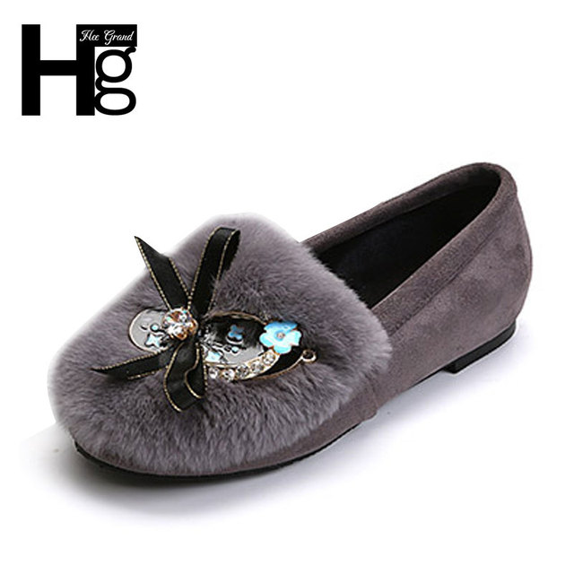 HEE GRAND Sweet Women Ballets Flat Shoes with Bowtie Korean Style Warm Plush Shallow Slip-on Ladies Shoes XWD4618