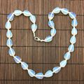 1 pc Natural Stone Bead Choker Necklace Stone Drop Bead Opal Amethyst Necklace 45 cm Oval Bead Silver Jewelry