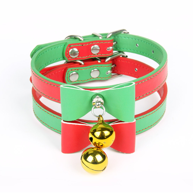 Quality Leather Pet Dog Collar With Bell  Cute Bow Christmas Small Dog Collars Cat Necklace Leash for Medium Dog Puppy Collar  1