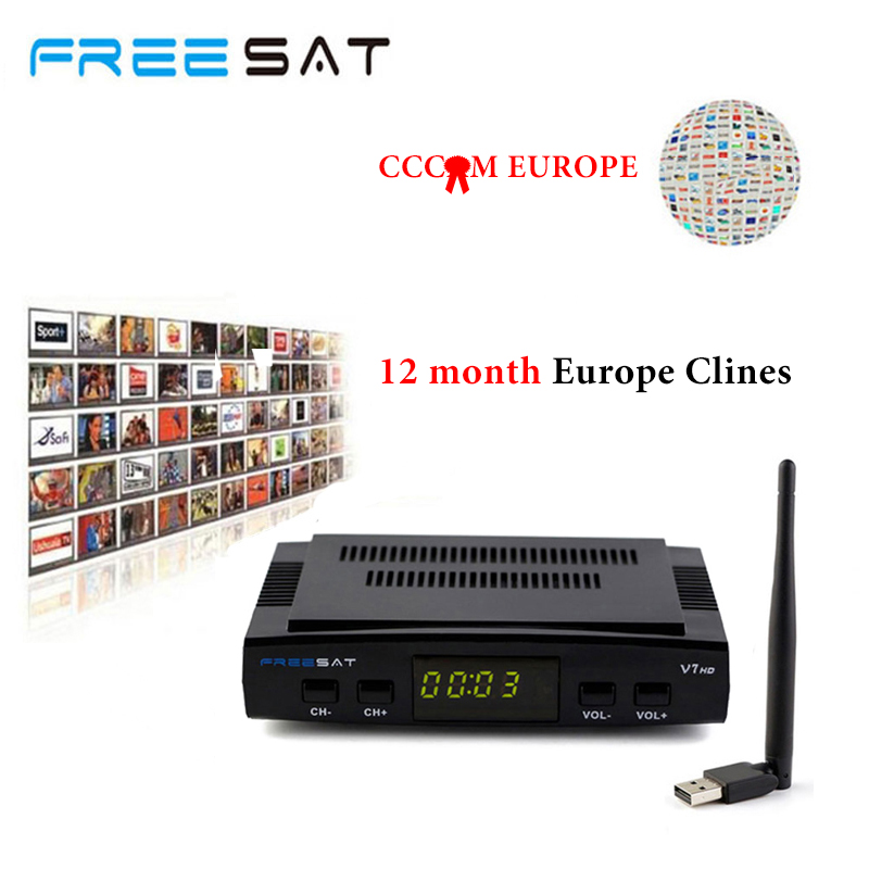 freesat V7 HD DVB-S2 Satellite receiver Free USB Wifi For 1 Year 5 Lines Europe Clines FULL HD Package satellite TV decoder v8 super satellite receiver dvb s2 full 1080p usb wifi biss key newcamd youtube powervu 1 year europe 7 clines server hd