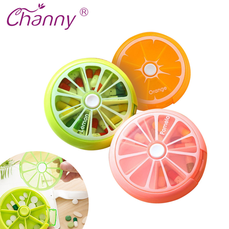 Channy Pill Box Frugtformet Vitamin 7 Dag Ugentlig Medicinsk Pillbox Tablet Opbevaring Container Cases Rejse Round Health Care