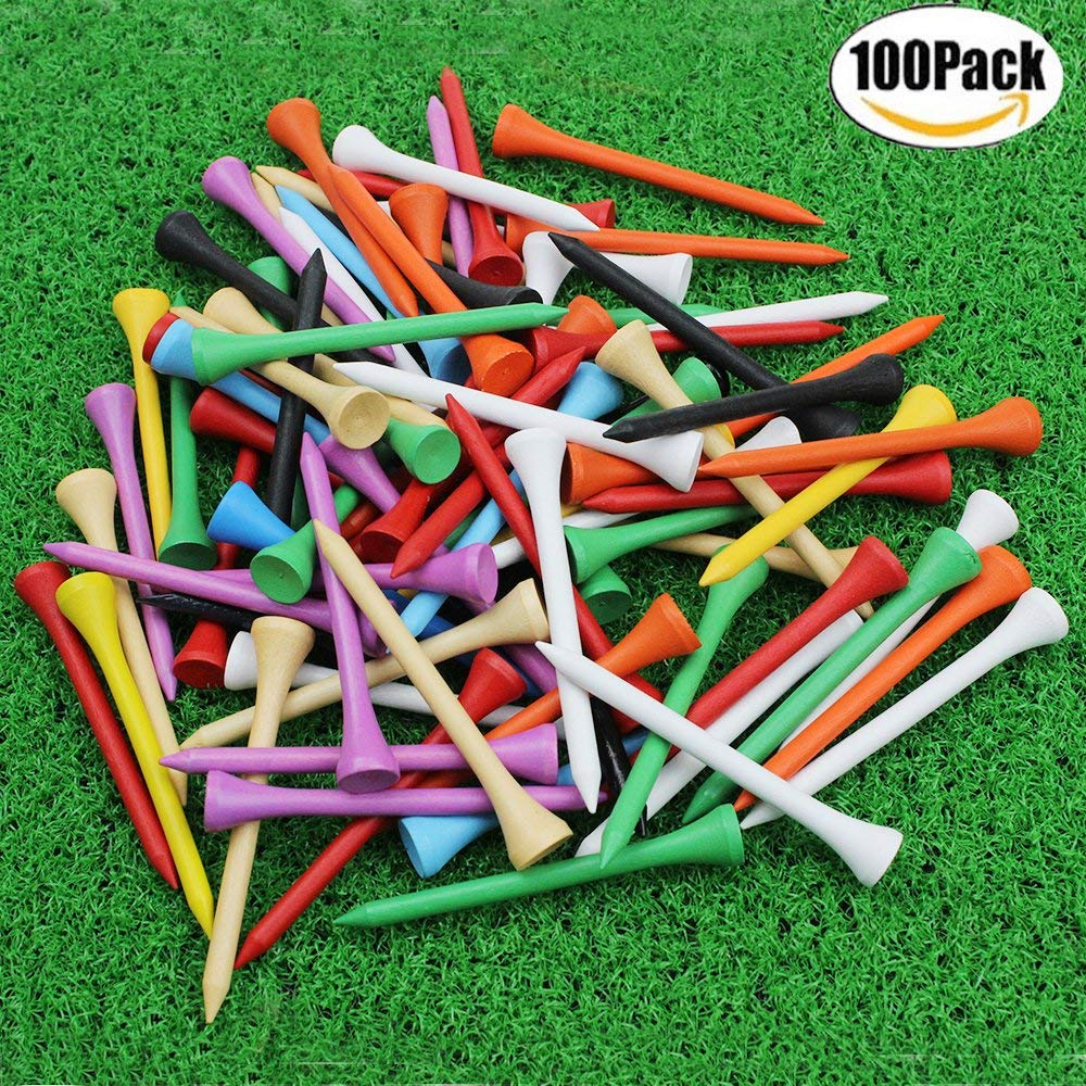 "CRESTGOLF 70mm 2-3/4"" Professional Wooden Golf tees Golf Wood Tees with Several Colors 100pcs/pack"