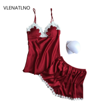 VLENATLNO pajamas sets summer style Women Female Sleep sets Deep V neck Sexy Spaghetti Strap Shorts