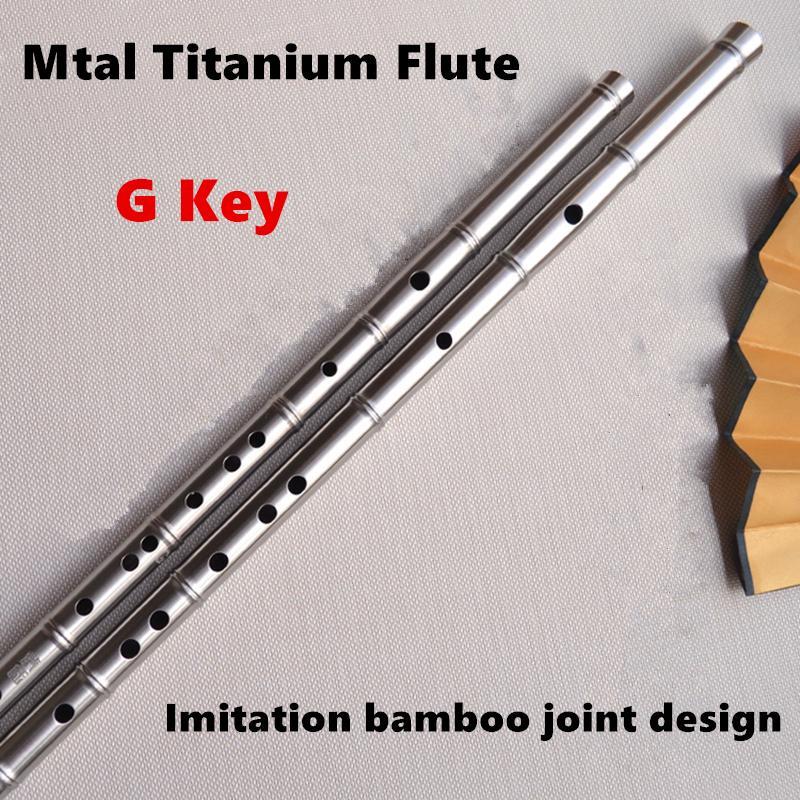 Titanium Metal Flute G Key Imitation Bamboo Joint Metal Flauta Profissional Music Instrument Self defense Weapon Metal flutes