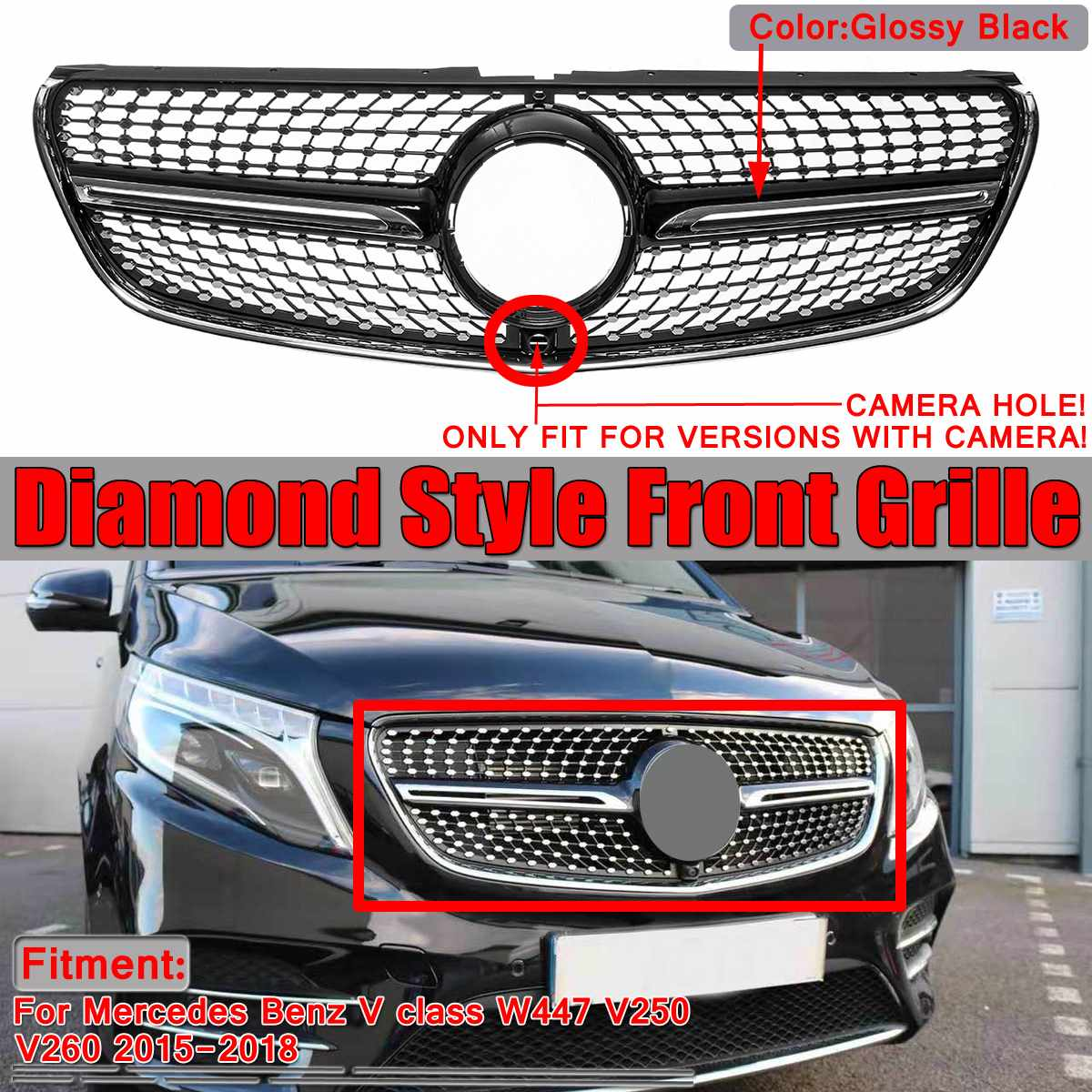 Diamond Grill Mesh W447 Car Front Grille Grill With Camera For Mercedes For Benz V Class W447 V250 V260 2015-2018 Black / Chrome