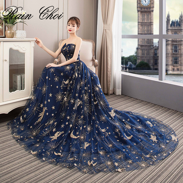 Sexy Evening Dresses 2019 A Line Formal Party Gowns with Train Strapless Long Evening Dress